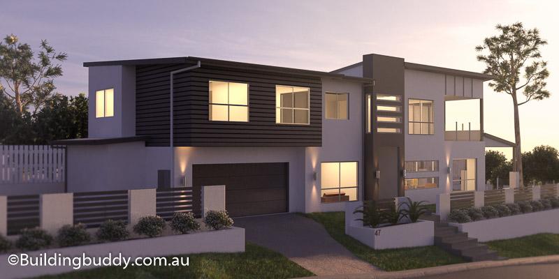 Main, Modern Facade House Plan